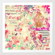 Flowers Mix Vintage Patchwork Art Print