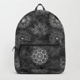 Watercolor Mandala Pattern - Black Ink Backpack
