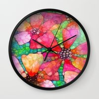 stained glass Wall Clocks featuring Stained Glass by 2dayspic