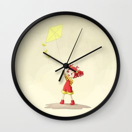 Girl with Kite Wall Clock