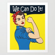 We Can Do It. Cool vector iconic woman's fist symbol of female power and industry. cartoon woman wit Art Print