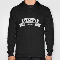 Stronger Every Day (dumbbell, black & white) Hoody