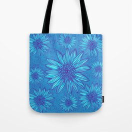 Winter Daisies in ice blue Tote Bag