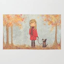 Little girl with dog in autumn landscape Rug