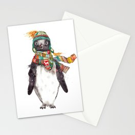 Penguin in a scarf (male) Stationery Cards