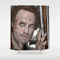 grimes Shower Curtains featuring Rick Grimes  Walking Dead by Kenneth Shinabery