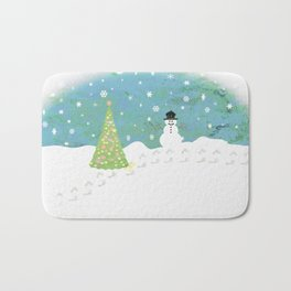 Snowman on Christmas Day Bath Mat