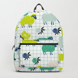 Cute Sheep and Flowers in Blue and Green Backpack
