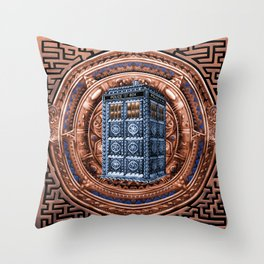 Aztec Tardis Doctor Who Full Color Pencils Sketch Throw Pillow
