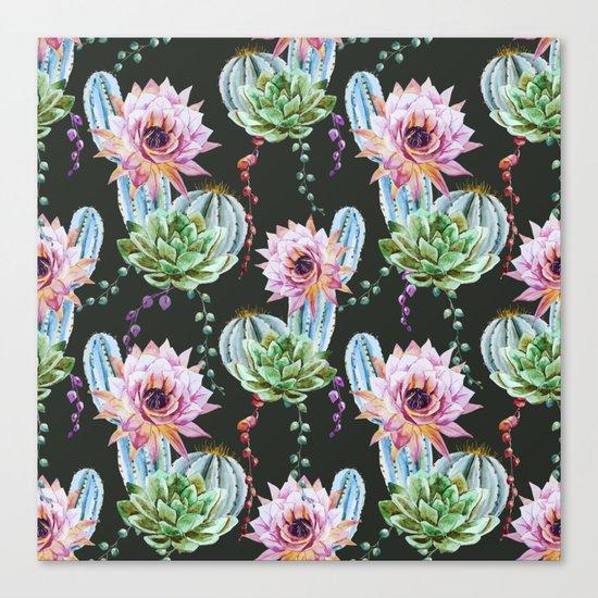 Cactus Pattern 09 Canvas Print