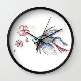 Japanese Fighting Fish Wall Clock