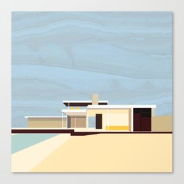 Mid Century Modern Kaufman House: Palm Springs: Architecture by Richard Neutra: Blue Yellow Brown Canvas Print