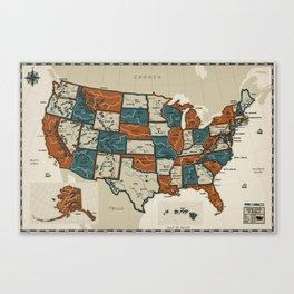USA Vintage Map Canvas Print