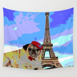 A Pug in Paris Wall Tapestry