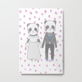 Wedding pandas Metal Print