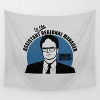dwight Wall Tapestries featuring Dwight Schrute logo v2 by Buby87