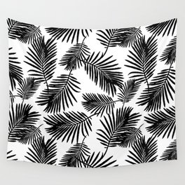 Tropical Palm Leaves Black N White Wall Tapestry