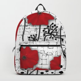 Poppies red n white background . Backpack