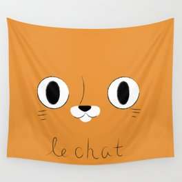 Le Chat (Orange) Wall Tapestry