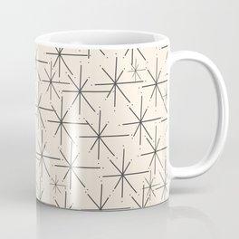 Stella - Atomic Age Mid Century Modern Starburst Pattern in Charcoal Gray and Almond Cream Coffee Mug