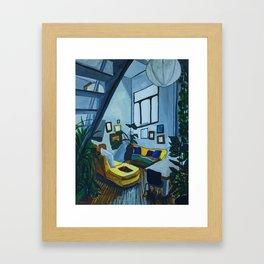 Living Room Interior With Plants Framed Art Print
