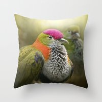 aperture Throw Pillows featuring Superb Fruit Dove by Pauline Fowler ( Polly470 )