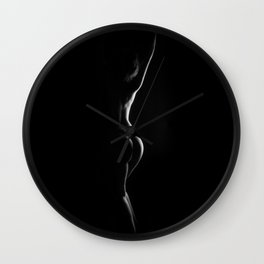 3684-AMS Sensual Side Light B&W Studio Nude Erotic Photography by Chris Maher Wall Clock