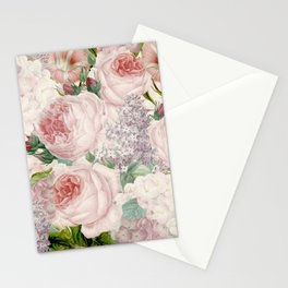 Vintage Roses and Lilacs Pattern - Smelling Dreams Stationery Cards