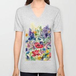 Spring Flowers Watercolour Unisex V-Neck