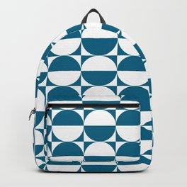 Mid Century Modern Half Circles Pattern Peacock Blue Backpack