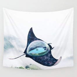 Space Manta Ray Wall Tapestry