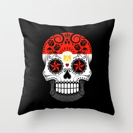 Sugar Skull with Roses and Flag of Egypt Throw Pillow