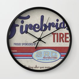 SRC Preparations. Racecar Rebels. Firebridge Poster Cream Wall Clock