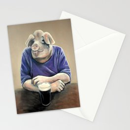 Pig with a Pint of Guinness Stationery Cards