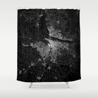 portland Shower Curtains featuring portland map by Line Line Lines