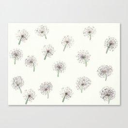 Summer meadow watercolor pattern Dandelion Canvas Print