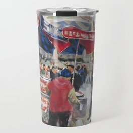 Hot dogs and soda sell well on the street outside the Metropolitan Museum, New York Travel Mug