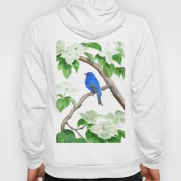 Royal Blue-Indigo Bunting in the Dogwoods by Teresa Thompson Hoody