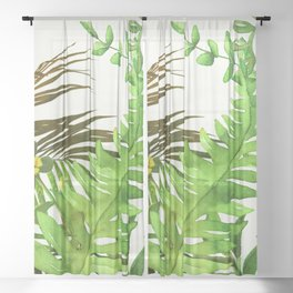 Watercolor Plants Sheer Curtain
