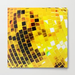 Gold Funky Disco Ball Metal Print