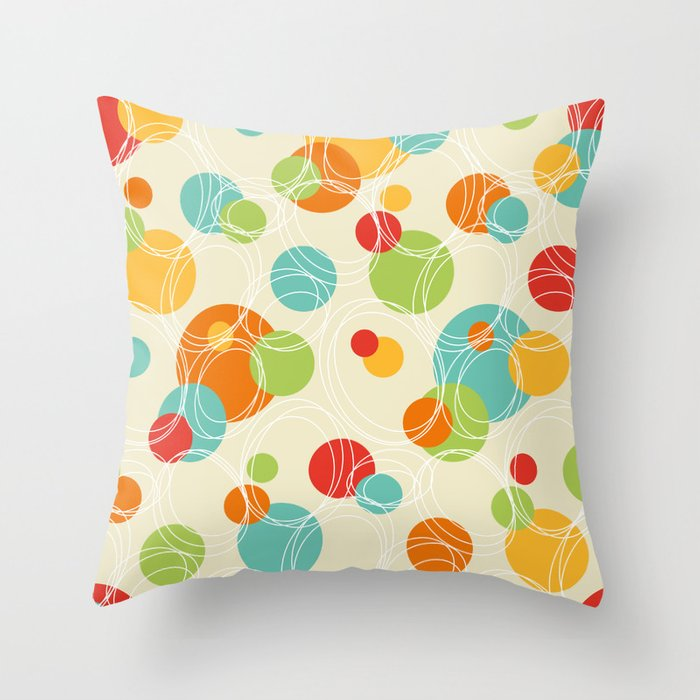 Vintage Looking Throw Pillows : Vintage Geometric Circle Pattern Throw Pillow by lilalove Society6