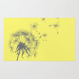 Bright Sunny Yellow + Gray Dandelion Rug