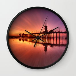 Sunset In Motion Huntington Beach Pier * Photo: Steve Berger Wall Clock