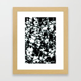 Black and White ink paint spill graphic mint green lines Framed Art Print