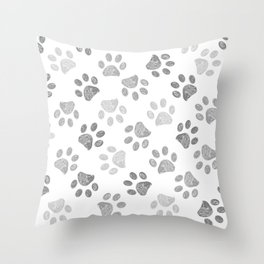 Black and grey paw print pattern Throw Pillow