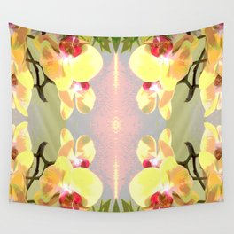 Yellow Orchid Pattern Wall Tapestry