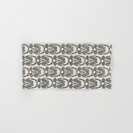 Crackled Scrolled Ikat Pattern - Cream Ink Black Hand & Bath Towel