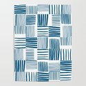 Torn Lines Abstract 03 White Blue by theoldartstudio