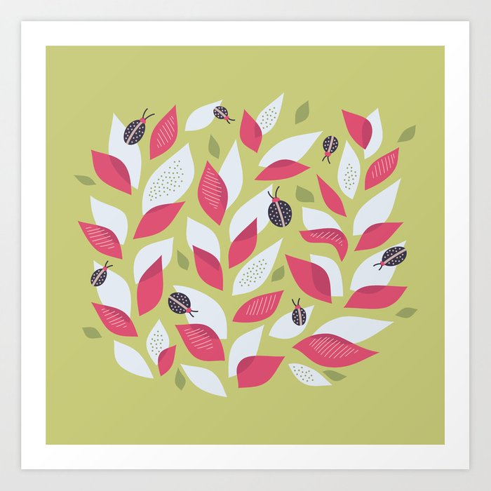 Pretty Plant With White Pink Leaves And Ladybugs Art Print