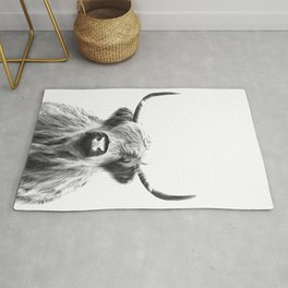 Black and White Highland Cow Portrait Rug
